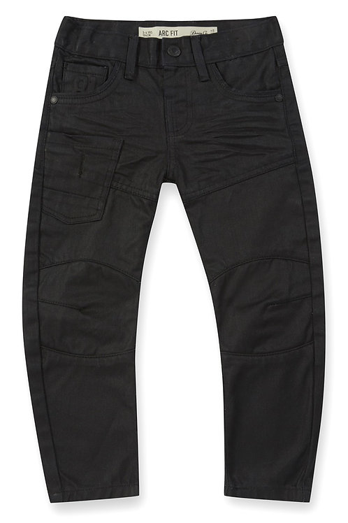 Rebel - Black Coated Arc Leg Worker Jeans