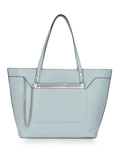Pale Blue Chain Zip Tote Bag - New Look