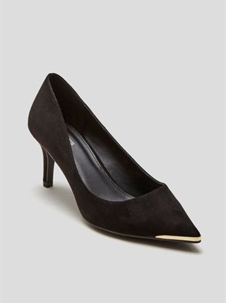 Black Wide Fit Pointed Court Shoe