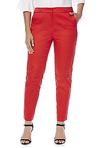 F&F Button Tab Detail Sateen Slim Leg Trousers - Coral