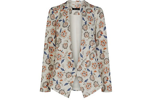 White Ethnic Print Waterfall Blazer by New Look