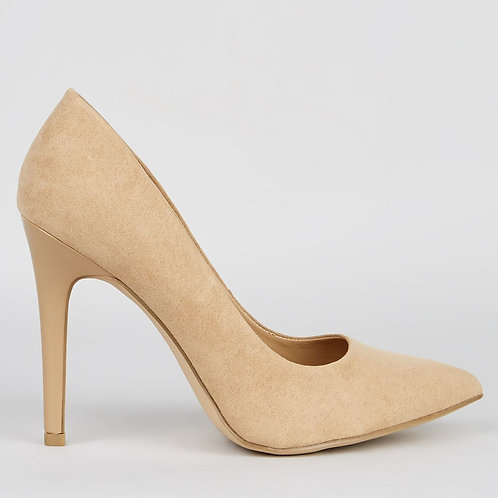 Wide Fit Cream Suedette Pointed Court Shoes by New Look
