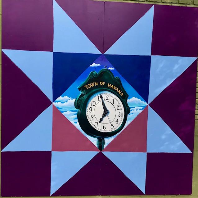 Garden Club Town Clock Quilt Mural