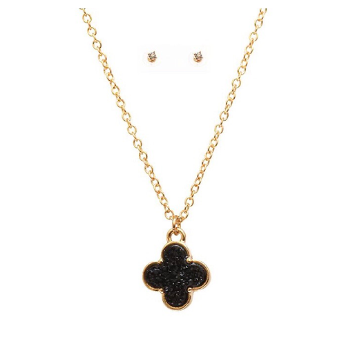 Black Druzy Clover Necklace
