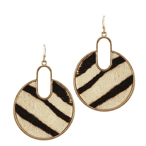 Round Zebra earrings