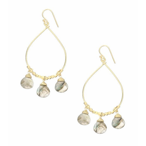 Labradorite 3 Stone Drop earrings