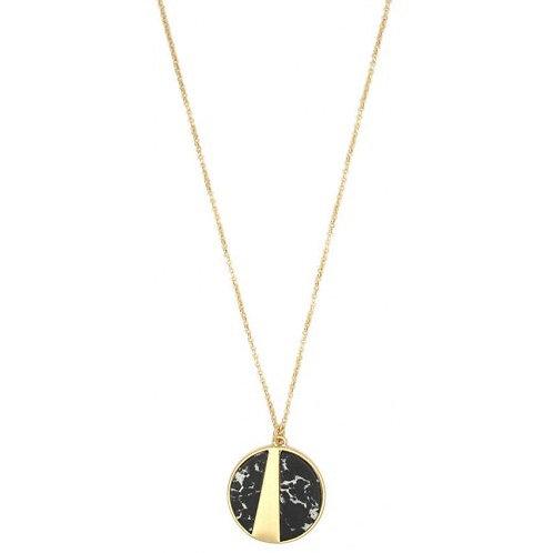 Round Stone Pendant - Black/Gold