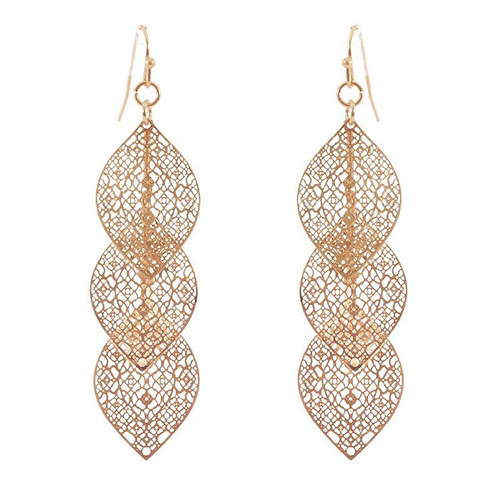 Triple Leaf Filigree Earrings