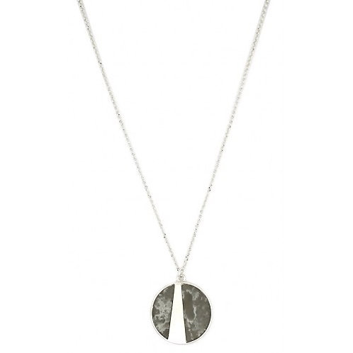 Round Stone Pendant - Grey/Silver