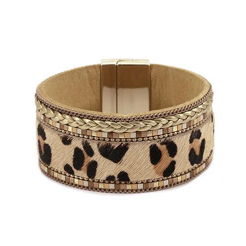 Woven Edge Leopard Cuff