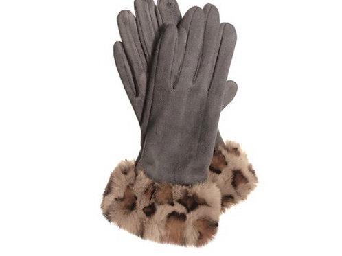 Leopard trim gloves