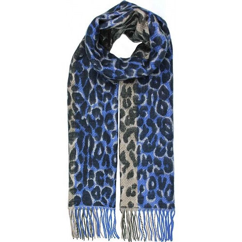 Blue Leopard scarf