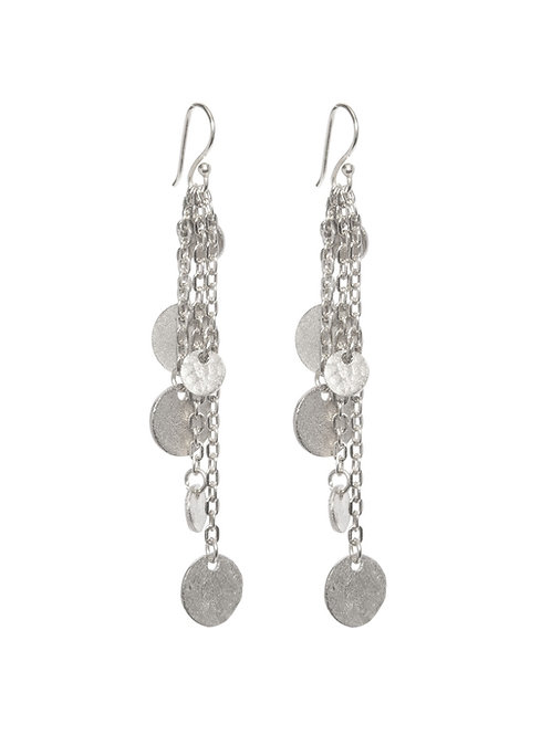 Long Hammered Coin Earrings