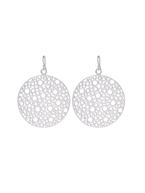 Bubble Disc Earrings- Silver