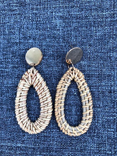 Rattan earrings - Teardrop