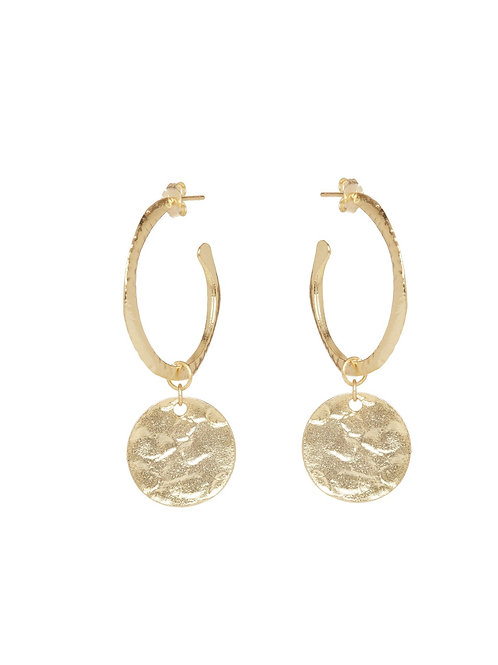 Gold Hammered Coin Hoops