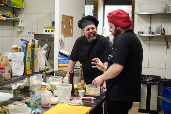 Chef Vincenzo and Matias plotting a dish