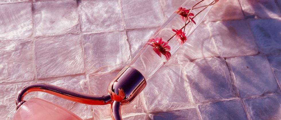 Floral Rose Quartz Facial Roller