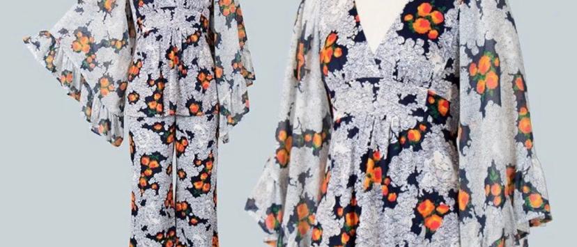 Vintage 1960s/1970s 2 Piece Pantsuit Set
