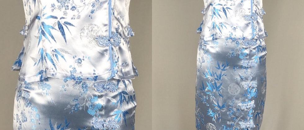 White, Blue + Silver Oriental Print Set
