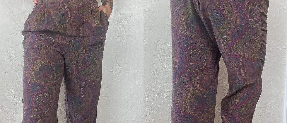 Purple Paisley Print Trousers