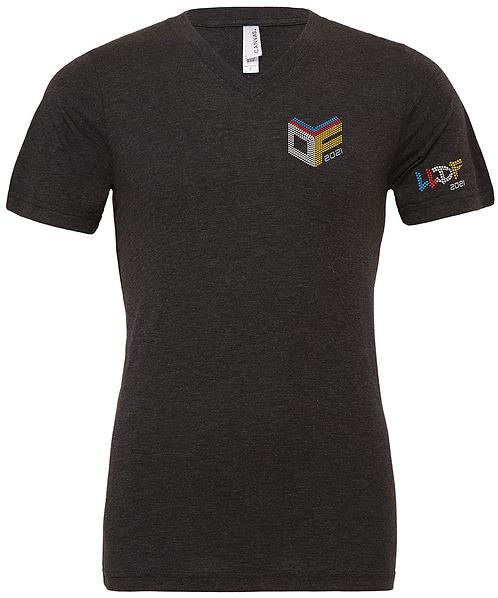 LLDF CUBE - V Neck CHARCOAL T-Shirt (Rhinestone)