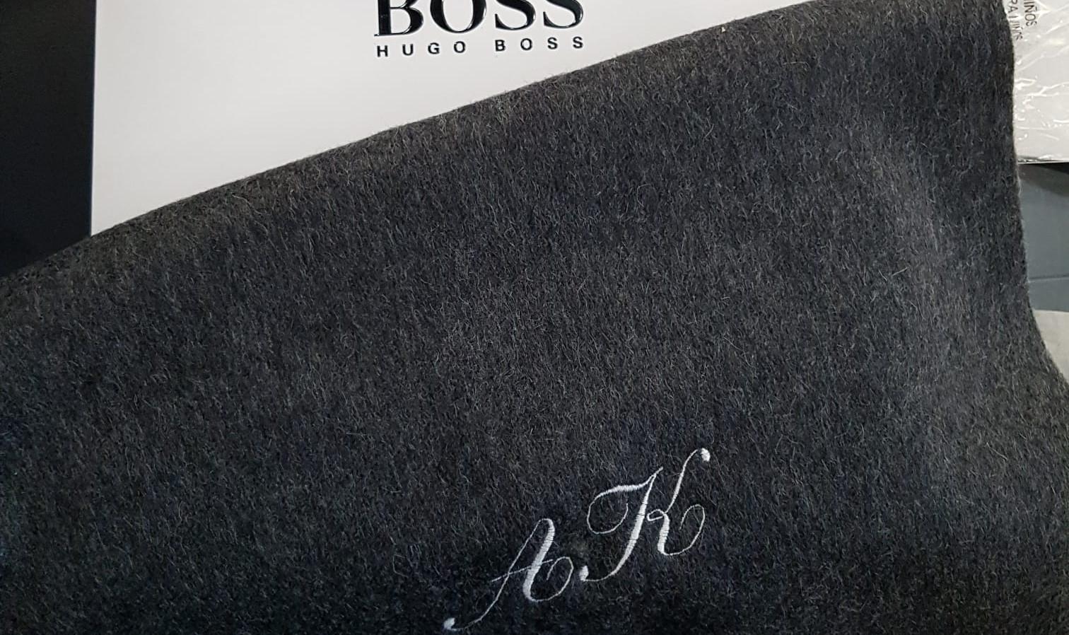 Monogrammed scarf at Hugo Boss