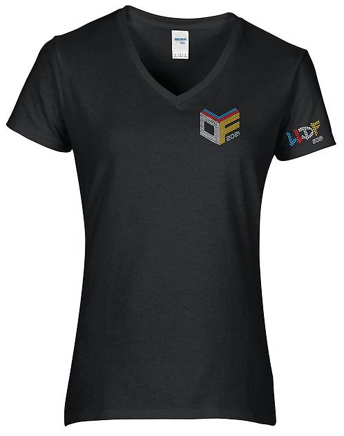 LLDF CUBE - BLACK V-neck  T-shirt (Rhinestone)