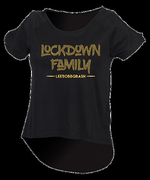 LockDownFamily Open Shoulder/DropTail Top - Rhinestone Designs