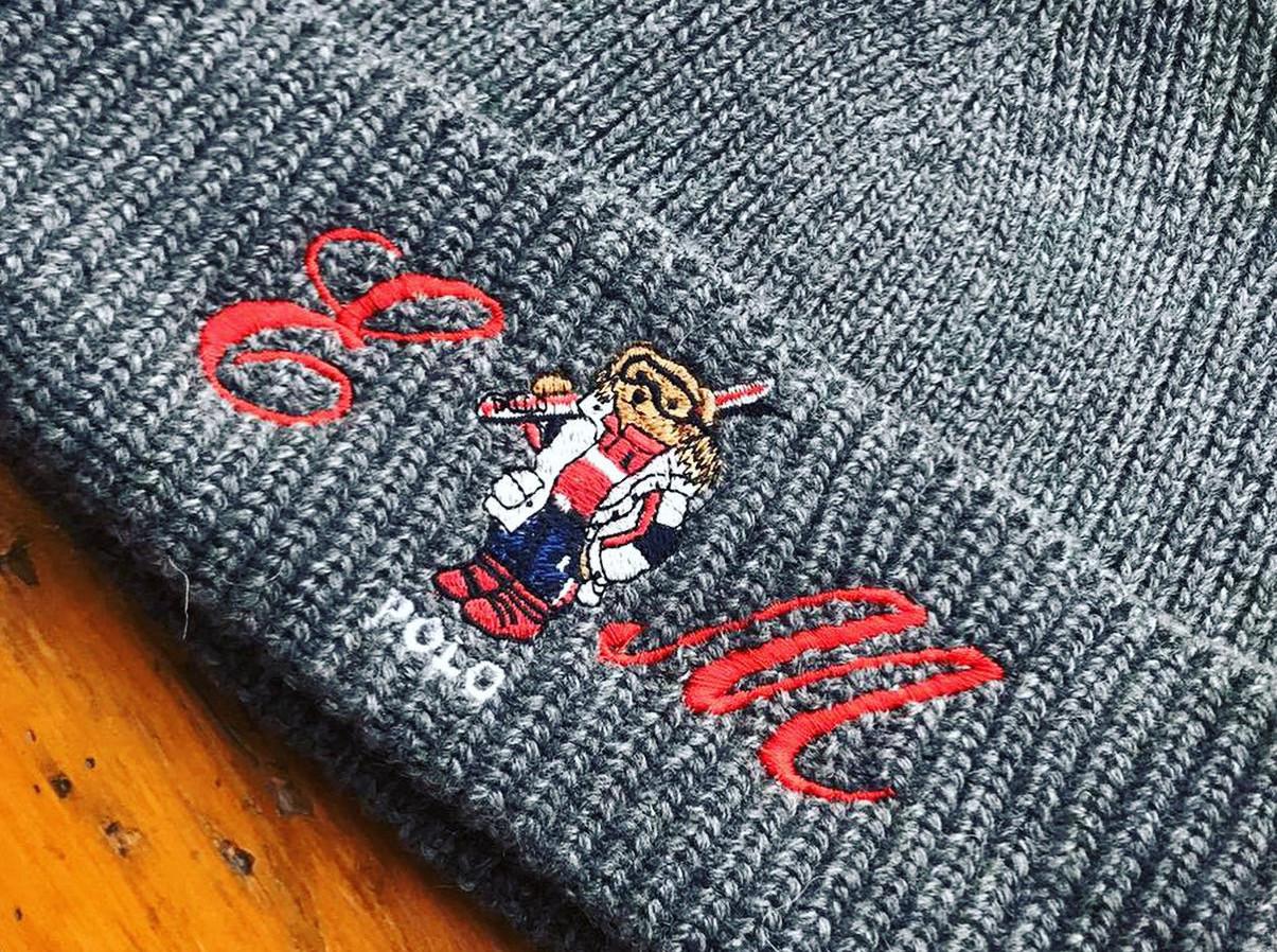 Initials embroidered onto Ralph Lauren beanie