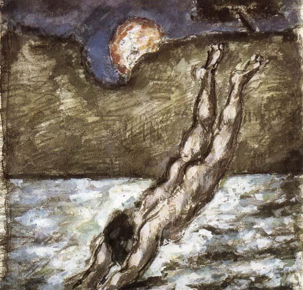 Femme piquant une tête dans l'eau, Cézanne, 1870.