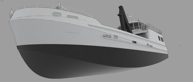 Snow and Company fishing vessel design below waterline