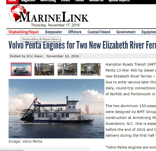Elizabeth River Ferry Nears Completion.