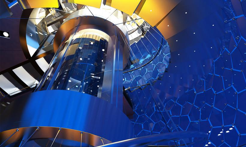 Oceanco Lumen's Sprial Staircase Concept