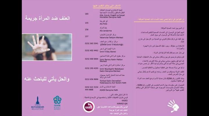 Şiddete uğrayan mülteci kadınlar için Arapça broşür