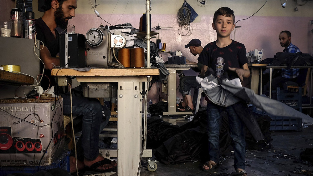 Mohammed Nour Abdullah in the workshop in Gaziantep, where he works 12 hours a day