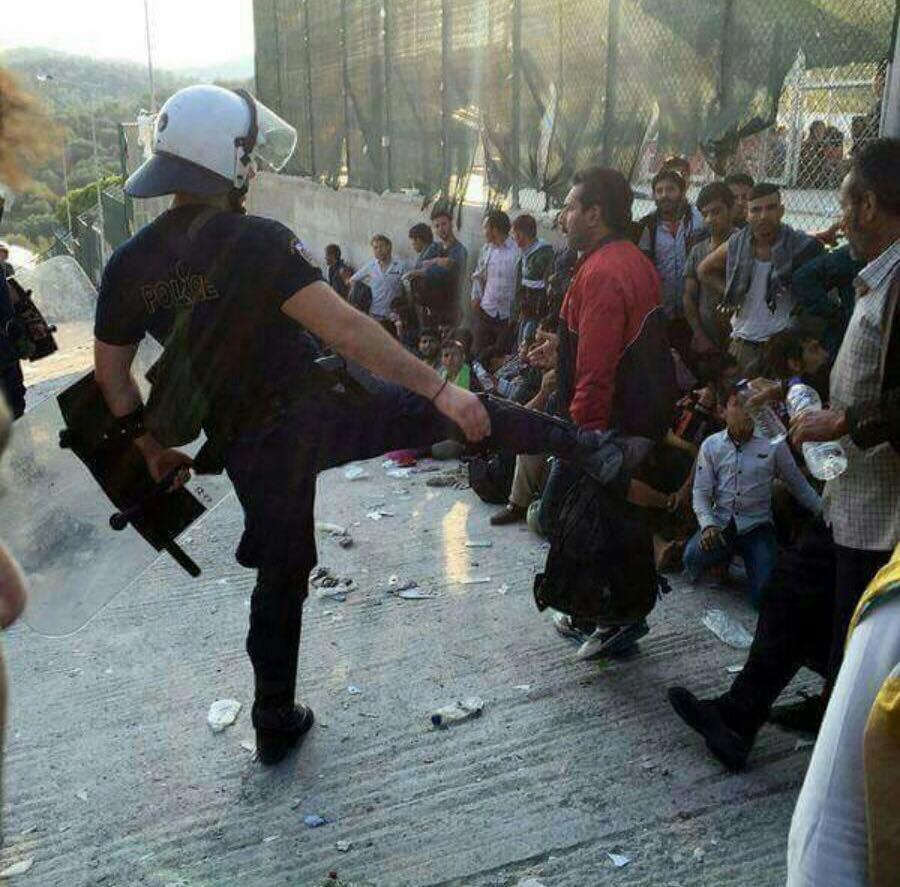 Police kick at Moria  taken by refugee