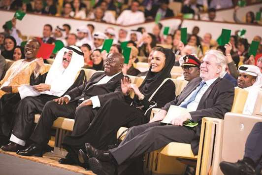 Her Highness Sheikha Moza bint Nasser attending the Education Above All plenary session at WISE 2017 yesterday with Nana Akufo-Addo, President of Ghana and co-chair of SDG Advocates, HE Dr Hamad bin Abdulaziz al-Kuwari, adviser at the Emiri Diwan, and other dignitaries. During the session, world leaders called for action to help young refugees and internally displaced youths through education and innovative solutions
