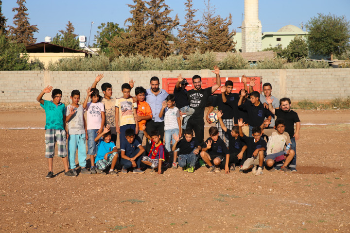 Qatar footballer Adel Lamy meets with Syrian children in Turkey's Hatay province