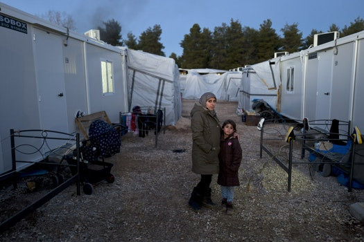 Syrian refugees at a refugee camp in Ritsona, Greece