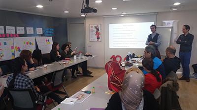 Göçmen ve Mülteci Çocukların Eğitim Yoluyla Toplumsal Entegrasyonu için 1. Öğretmen Destek Programından bir enstantane