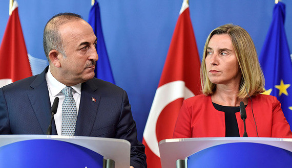 European Union foreign policy chief Federica Mogherini and Turkish Foreign Minister Mevlut Cavusoglu