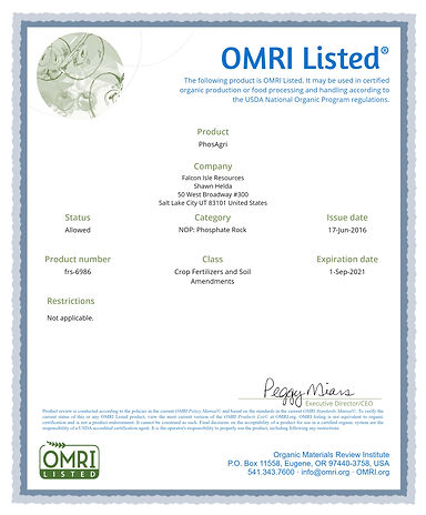 Falcon Isle - OMRI Certification 2021.jp