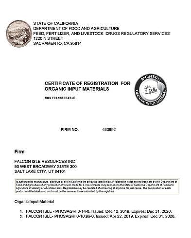 CDFA - Certificate of Registration 2020