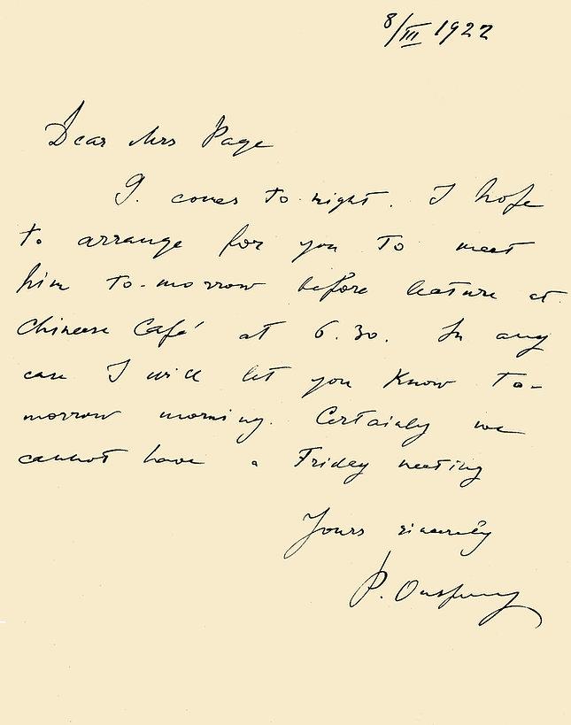 Letter by P D Ouspensky
