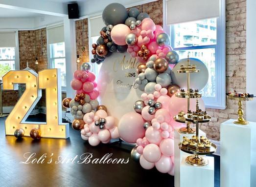 Pink and Gray balloon garland