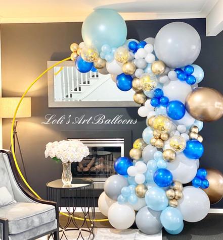 Baby Shower Balloon Garland with Golden Hoop