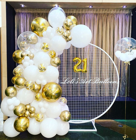 White and gold balloon garland