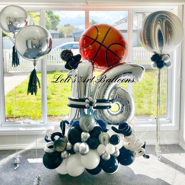 Grand Balloon Bouquet with basket ball
