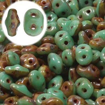 SuperDuo Duets Green Turquoise/Ivory Dark Trav (DU0563132-86805)